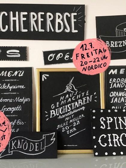 """Ich mache einen Workshop für Hausgemachte Schrift innerhalb der """"Prost, Mahlzeit!"""" Wirtshausausstellung im NORDICO Stadtmuseum Linz"""