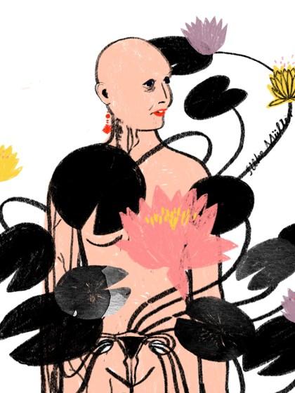 Eine Frau ohne Kleidung wird von schwarzen Seerosenblättern bedeckt, die aus ihrem Eierstock wachsen. Neben ihr blühen aber auch Seerosen in gelb und rosa auf. Nives Kramberger, Chemotherapie, Krebs, Boulevardzeitung Augustin, Illustration: Silke Müller
