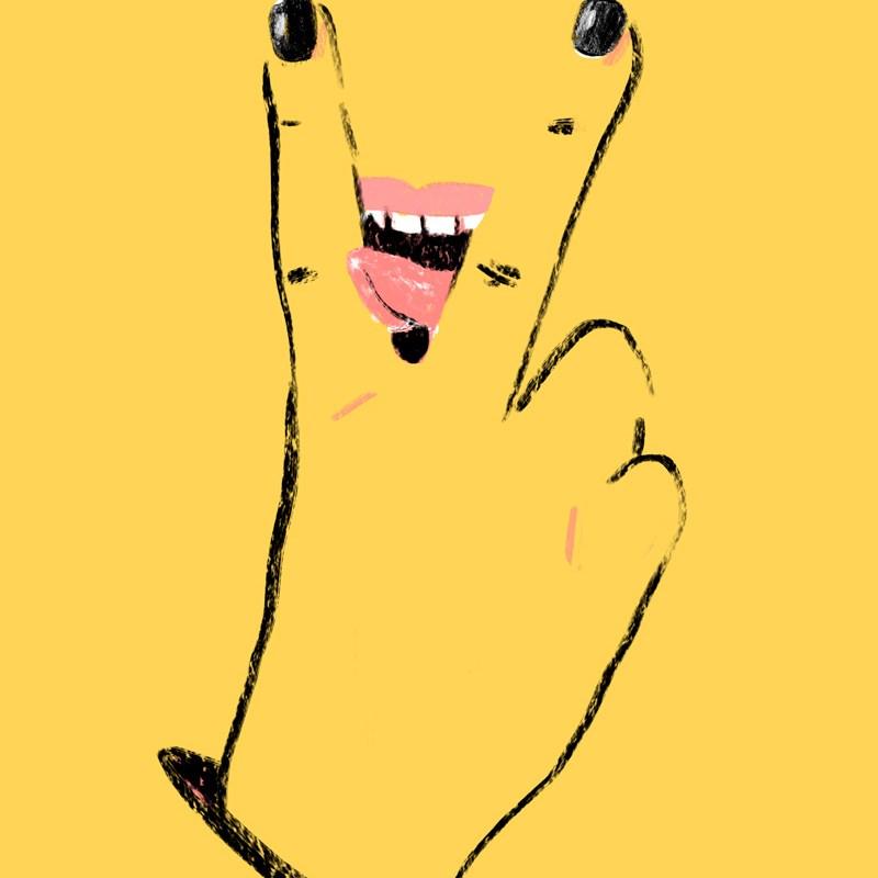auf einem gelben Plakat macht eine Hand das V-Zeichen für Victory, zwischen den Fingern sieht man Lippen und eine leckende Zunge.