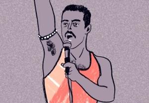 Auf der Illustration von Silke Müller sieht man den Schauspieler, der Freddie Mercury spielt, in dem Film Bohemian Rapsody