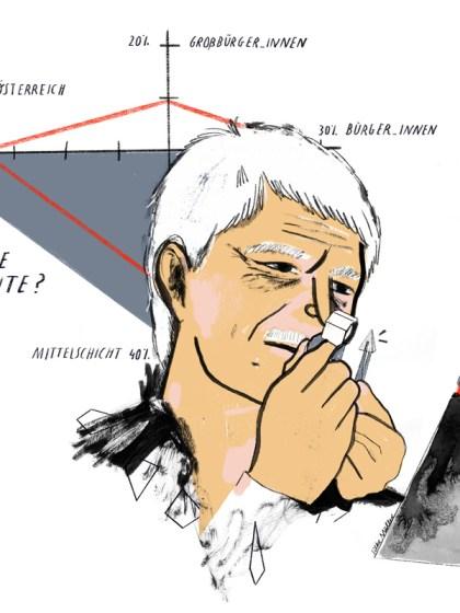 Eliteforscher Michael Hartmann für Augustin Boulevardzeitung | Wien | Illustration: Silke Müller