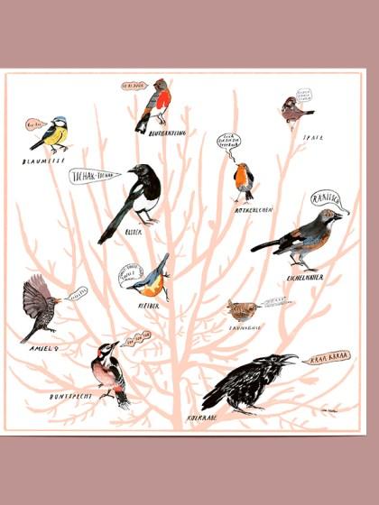 Ein Baum mit 12 unterschiedlichen Vögeln, illustriert von Silke Müller