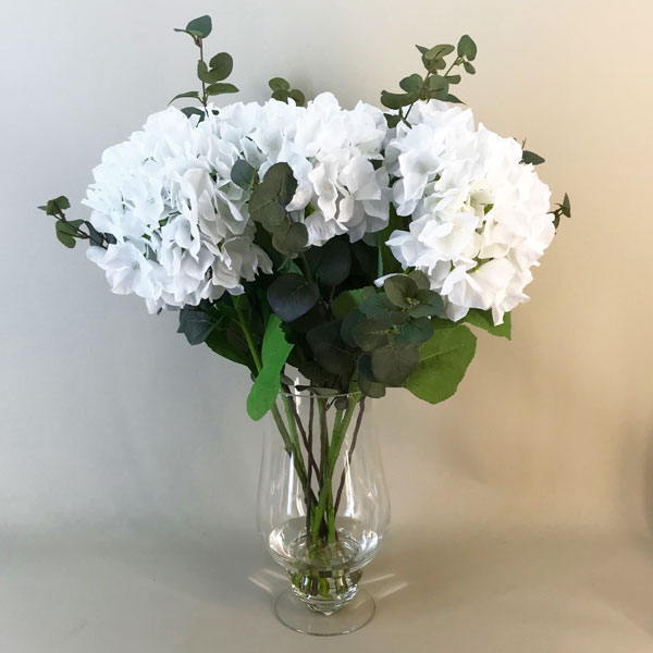 Elegant White Hydrangeas Vase Artificial Flower Arrangements