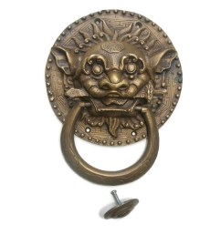 large solid foo dragon heavy pure brass door knocker 7 chinese dog head ring pull [ 1080 x 1080 Pixel ]
