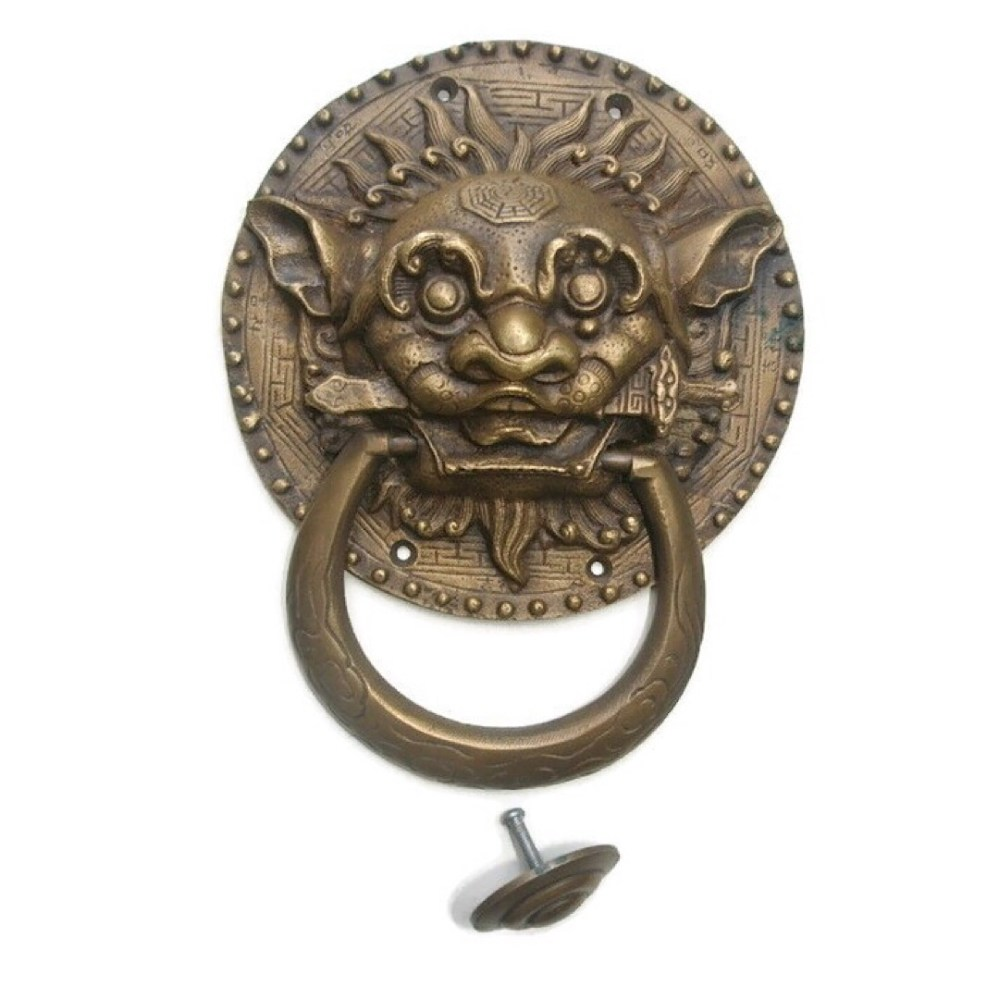 medium resolution of large solid foo dragon heavy pure brass door knocker 7 chinese dog head ring pull