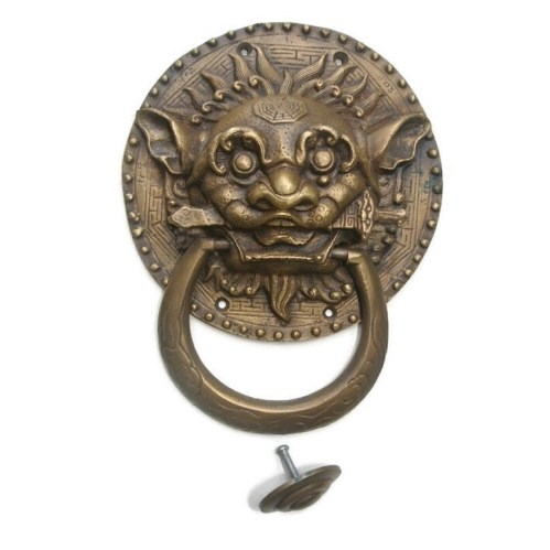 small resolution of large solid foo dragon heavy pure brass door knocker 7 chinese dog head ring pull