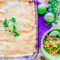 Mexican White Chicken Enchiladas with Chili Lime Corn-Off-The-Cobb