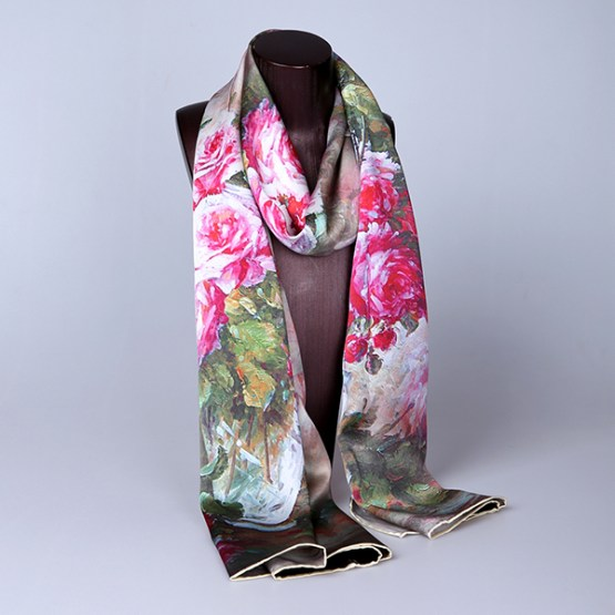 Long Silk Scarf-Digital Silk Scarf-Silk Scarf China-ALL01