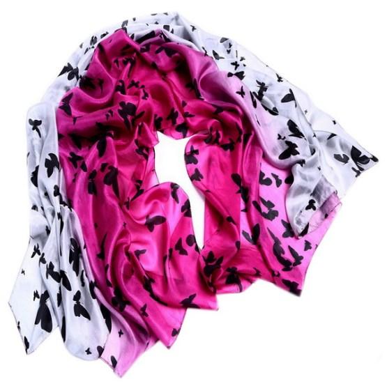Silk Scarf -Infinity scarf -Butterfly-SPAJ01B2