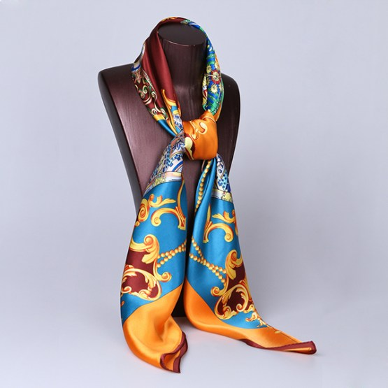 110cm Silk Scarf-Square Silk Scarf-Wholesale Scarfs-HA0018D