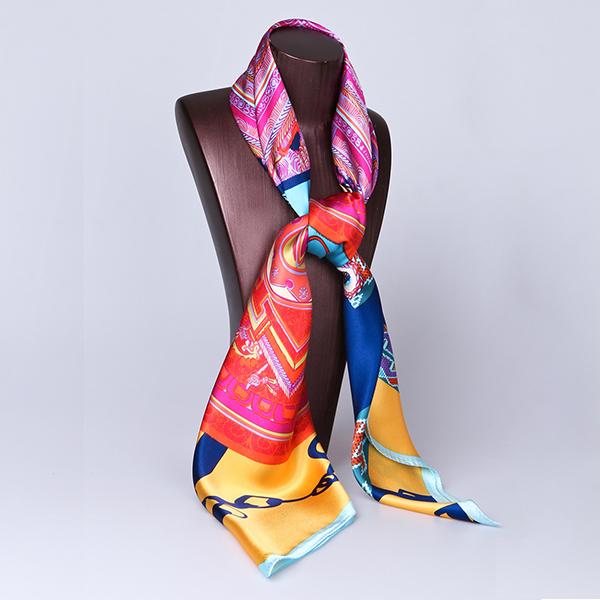 110cm Silk Scarf-Square Silk Scarf-Wholesale Scarfs-HA0019F