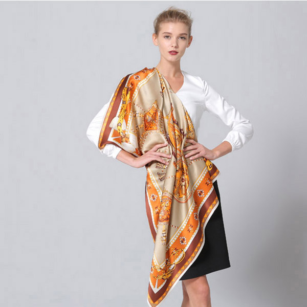 110cm Silk Scarf-Square Silk Scarf-Wholesale Scarfs-HA0022D3