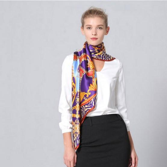 110cm Silk Scarf-Square Silk Scarf-Wholesale Scarfs-HA0024A3