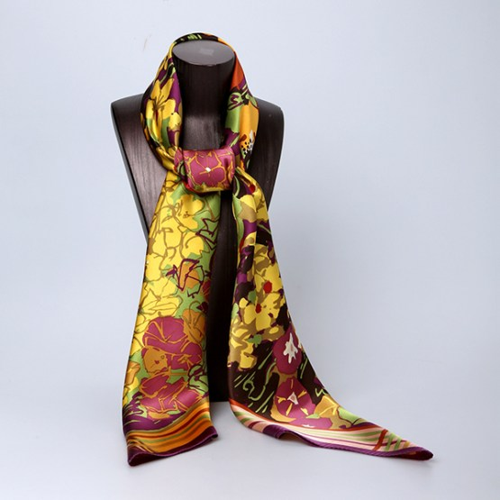 110cm Silk Scarf-Square Silk Scarf-Wholesale Scarfs-HA0026A