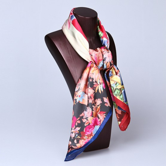 90cm Silk Scarf-Square Silk Scarf-Wholesale Scarfs-HA650B