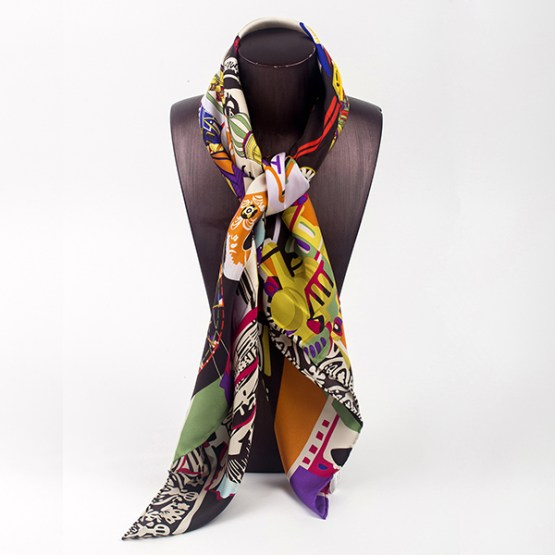 90cm Silk Scarf-Square Silk Scarf-Wholesale Scarfs-HA7020C