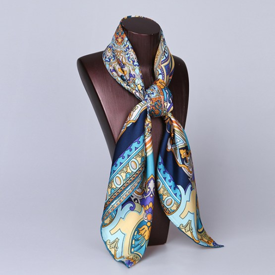 90cm Silk Scarf-Square Silk Scarf-Wholesale Scarfs-HA708D