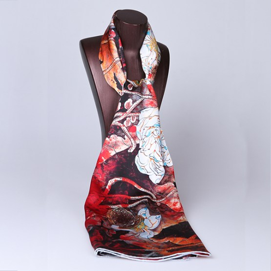 Long Silk Scarf-Digital Silk Scarf-Silk Scarf China-ALL015