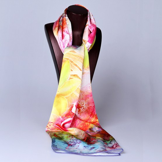 Long Silk Scarf-Digital Silk Scarf-Silk Scarf China-ALL025