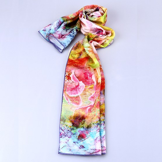 Long Silk Scarf-Digital Silk Scarf-Silk Scarf China-ALL025A