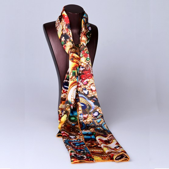 Long Silk Scarf-Digital Silk Scarf-Silk Scarf China-ALL032
