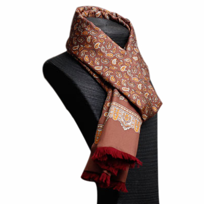 Mens Silk Scarf-Double Layers-Thick MSDT014H