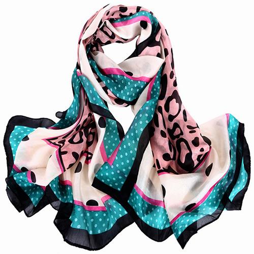 Silk Scarf -Infinity Scarf -Silk PAJ Scarf-Leopard-SPLE011