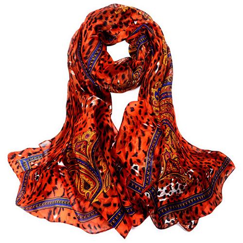 Silk Scarf -Infinity Scarf -Silk PAJ Scarf-Leopard-SPLE01A