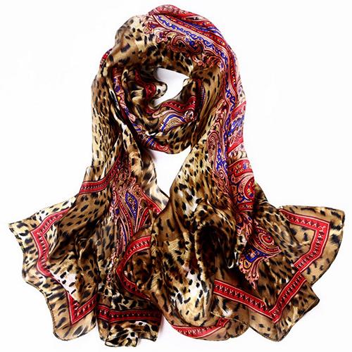 Silk Scarf -Infinity Scarf -Silk PAJ Scarf-Leopard-SPLE01B