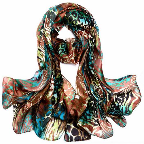 Silk Scarf -Infinity Scarf -Silk PAJ Scarf-Leopard-SPLE03B