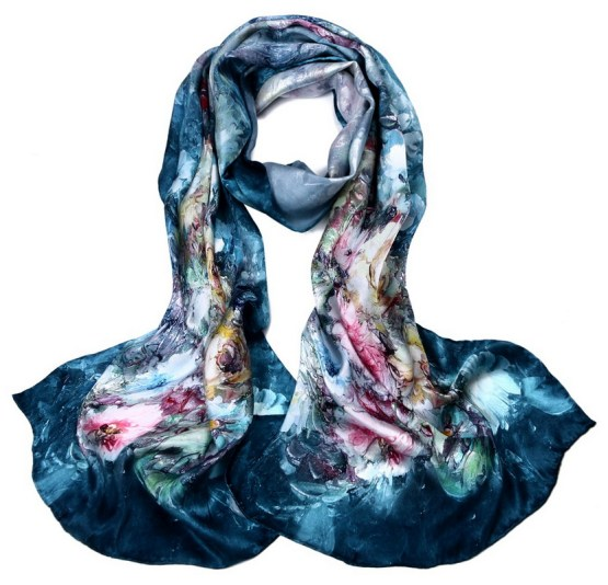 Silk Scarf-Long Digital Silk Scarf-Silk Satin SSSD012