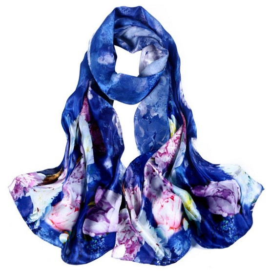 Silk Scarf-Long Digital Silk Scarf-Silk Satin SSSD015