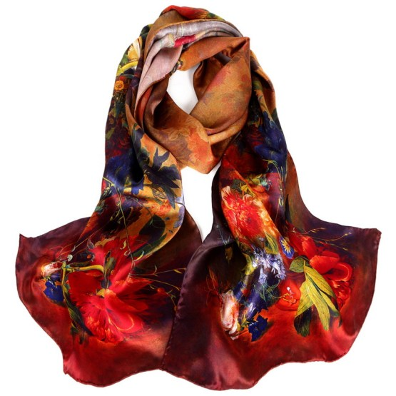 Silk Scarf-Long Digital Silk Scarf-Silk Satin SSSD017