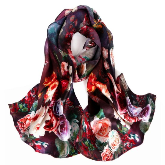 Silk Scarf-Long Digital Silk Scarf-Silk Satin SSSD019