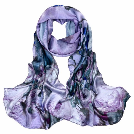 Silk Scarf-Long Digital Silk Scarf-Silk Satin SSSD020