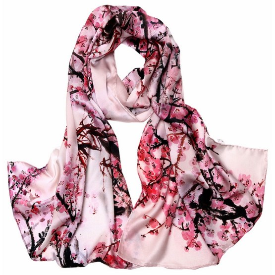 Silk Scarf-Long Digital Silk Scarf-Silk Satin SSSD031