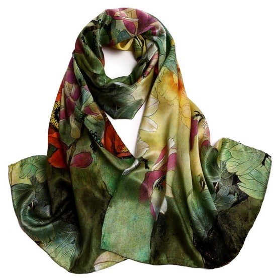 Silk Scarf-Long Digital Silk Scarf-Silk Satin SSSD032