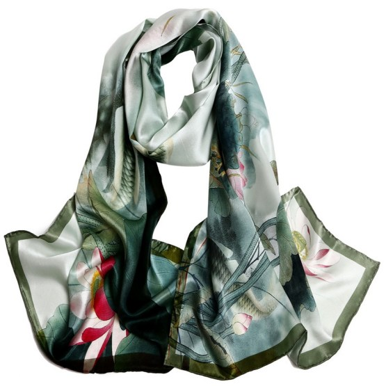 Silk Scarf-Long Digital Silk Scarf-Silk Satin SSSD034