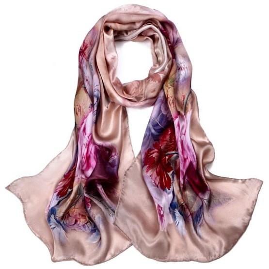 Silk Scarf-Long Digital Silk Scarf-Silk Satin SSSD04