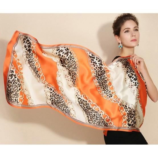 Silk Scarf-Long Digital Silk Scarf-Silk Satin SSSD041B
