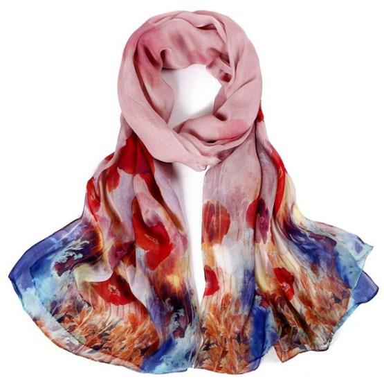 Silk Scarf-Silk Chiffon Scarf-Infinity Scarf-DSC014