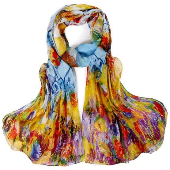 Silk Scarf-Silk Chiffon Scarf-Infinity Scarf-DSC018