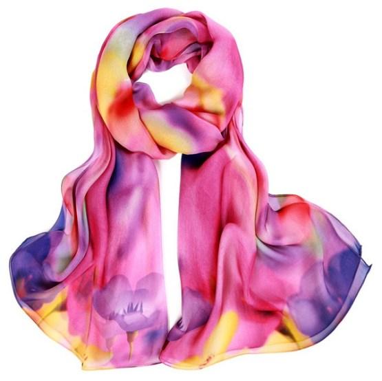 Silk Scarf-Silk Chiffon Scarf-Infinity Scarf-DSC02