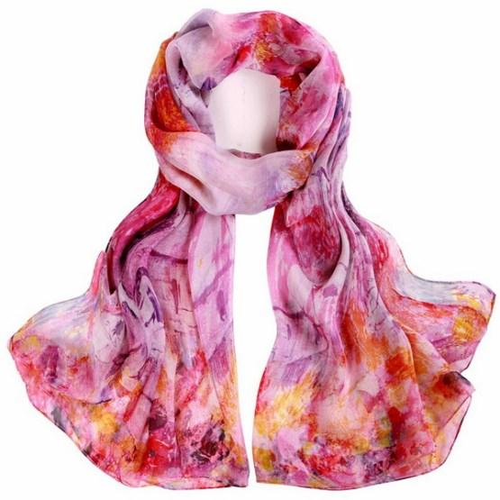 Silk Scarf-Silk Chiffon Scarf-Infinity Scarf-DSC04