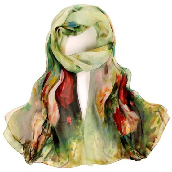 Silk Scarf-Silk Chiffon Scarf-Infinity Scarf-DSC05