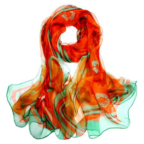 Silk Scarf-Silk Georgette Scarf-Infinity Scarf-ISGS014B