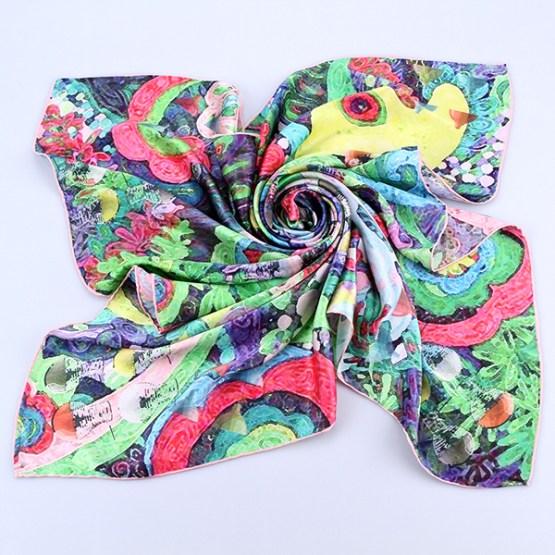 Square Silk Scarf-Silk Scarf-Digital Silk Scarf-100AA013B
