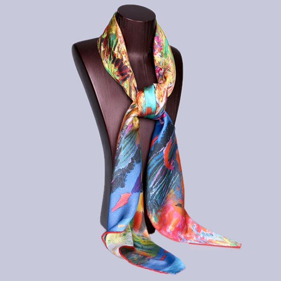 Square Silk Scarf-Silk Scarf-Digital Silk Scarf-100AA016