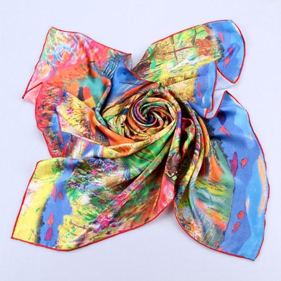 Square Silk Scarf-Silk Scarf-Digital Silk Scarf-100AA016B
