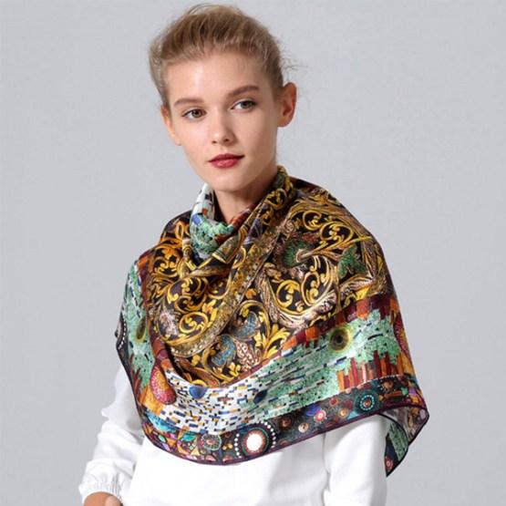 Square Silk Scarf-Silk Scarf-Digital Silk Scarf-100AA01A